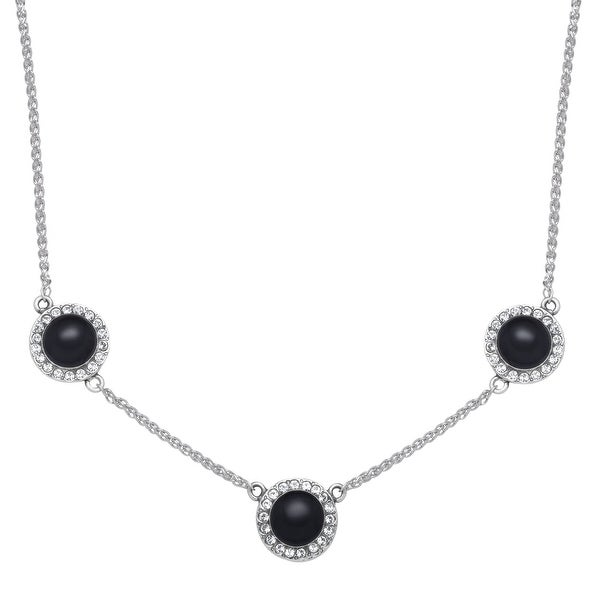 Van Kempen Art Deco Onyx Necklace with Swarovski elements Crystals in Sterling Silver