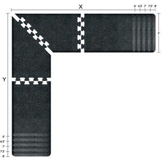 WellnessMats Puzzle Piece Collection 6.5 X 6.5 X 2 Feet, 4 Piece L Series Anti-Fatigue Office & Kitchen Mat Set, Granite Onyx