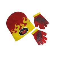 Disney Cars 3 Lightning McQueen Flame Beanie and Glove Set, Red