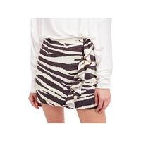 Free People Womens Mini Skirt Animal Print Cascade Ruffle