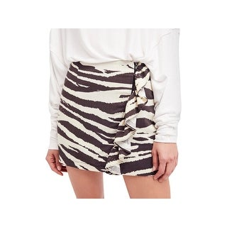 Free People Womens Mini Skirt Animal Print Cascade Ruffle