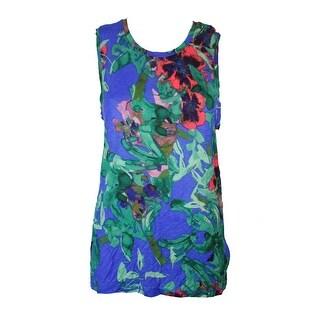 Rachel Rachel Roy Blue Green Floral-Print Tank Top XXL