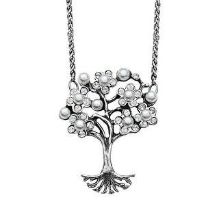 Van Kempen Art Nouveau Simulated Pearl and Swarovski Crystals Tree of Love Necklace in Sterling Silver