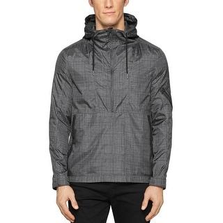 Calvin Klein Jeans Hooded Half Zip Printed Jacket  XXL 2XL Dark Charcoal