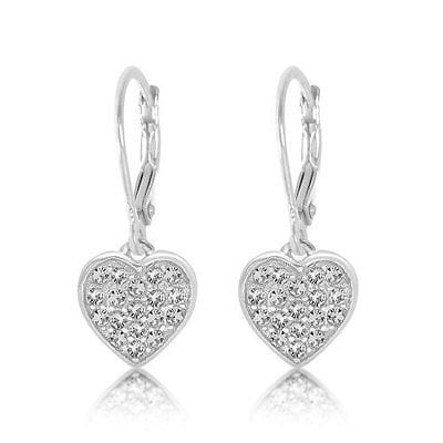 925 Sterling Silver White Gold Tone Clear Crystal Heart Leverback Kids Earrigs