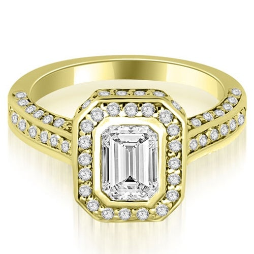 1.50 cttw. 14K Yellow Gold Pave Emerald Cut Halo Engagement Diamond Ring