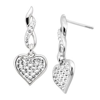 Crystaluxe Drop Heart Earrings with Swarovski elements Crystals in Sterling Silver