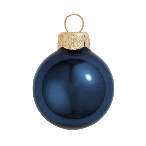 "2ct Midnight Blue Pearl Glass Ball Christmas Ornaments 6"" (150mm)"