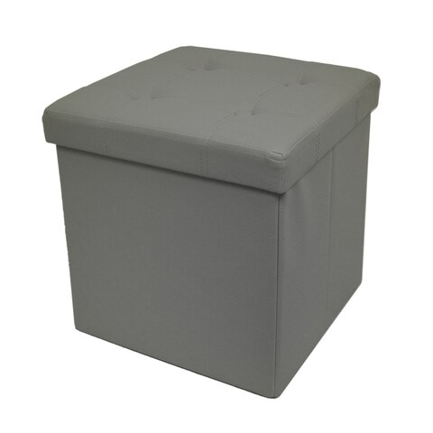 Taupe Tufted Foldable Storage Ottoman Cube