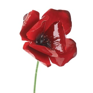 Poppy Garden Stake - Bright Red 20 Inches Tall Outdoor Decor - 4 in. x 20 in.
