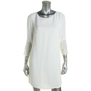French Connection Womens Tunic Dress Lace Trim 3/4 Sleeve