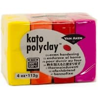 Kato Polyclay 2Oz 4-Color Set-Warm-Yellow, Orange, Red & Magenta