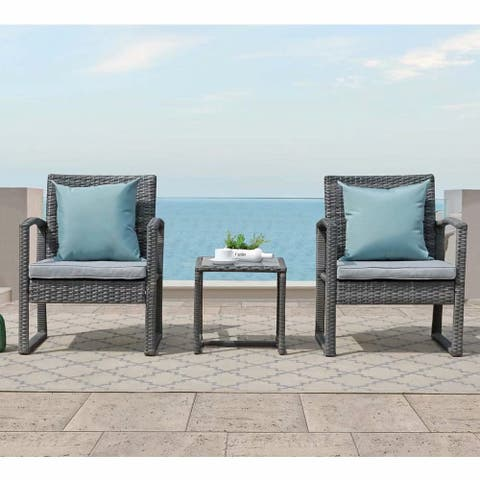 3-piece Outdoor Wicker Chat Set with Cushions