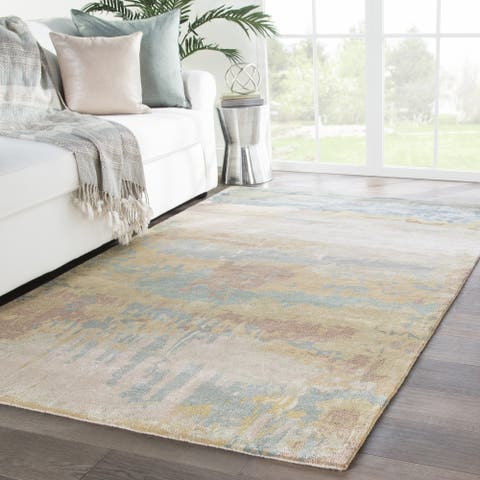 Ilsted Handmade Abstract Gold/ Light Blue Area Rug - 12' x 15'