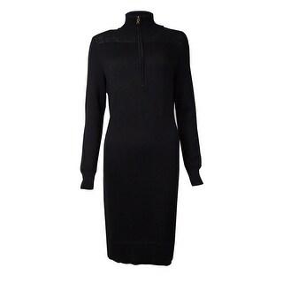 Lauren Ralph Lauren Women's Quarter Zip Knitted Sweater Dress (M, Black) - m