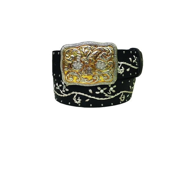 Danbury Western Belt Womens Floral Genuine Leather Wax Cord
