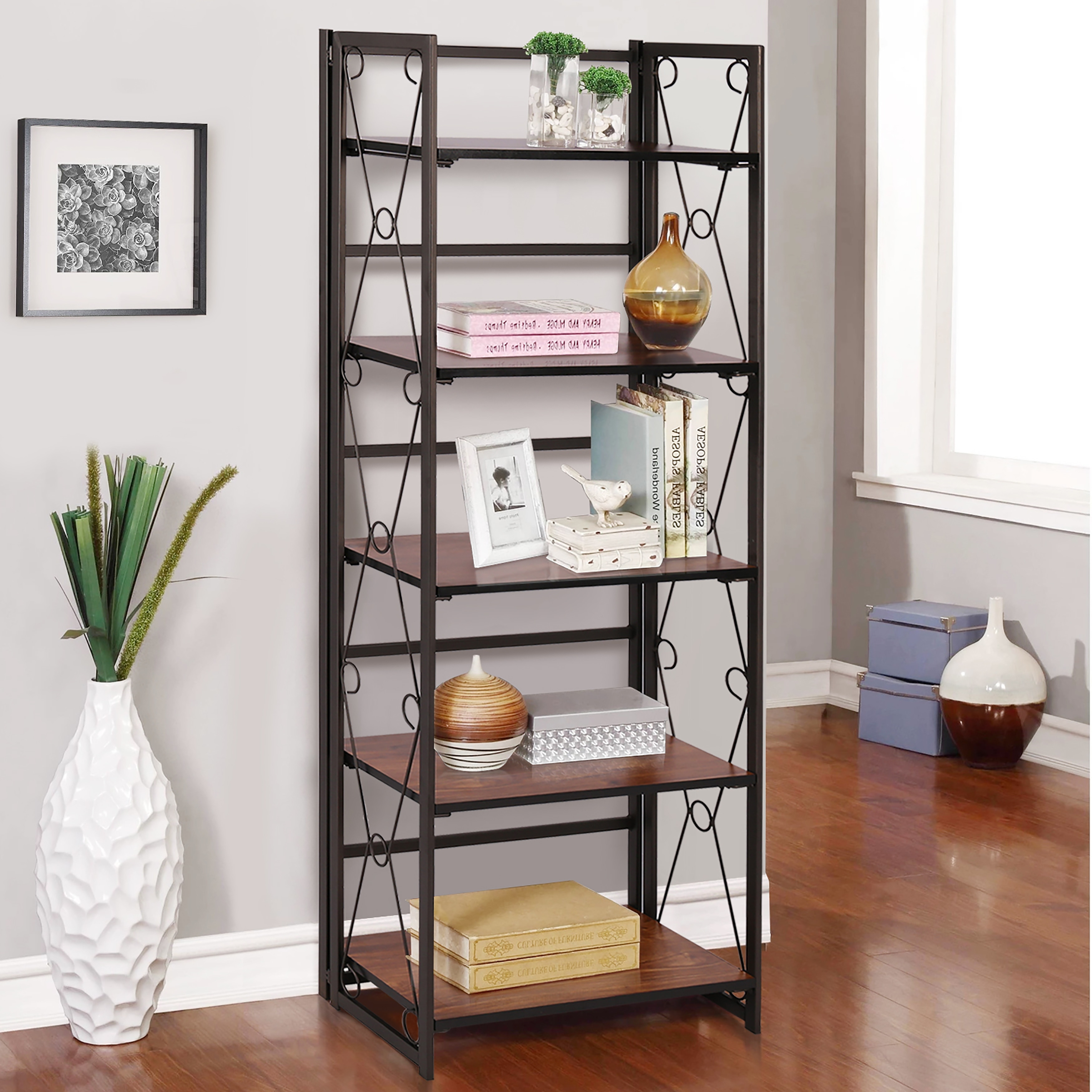 Shop Vecelo 5 Tier Sturdy Metal And Wood Rustic Bookshelf Coffee Overstock 31287943