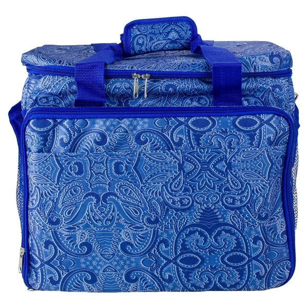 """14.25"""" Blue Paisley Collapsible Cooler with Pop Up Table. Opens flyout."""
