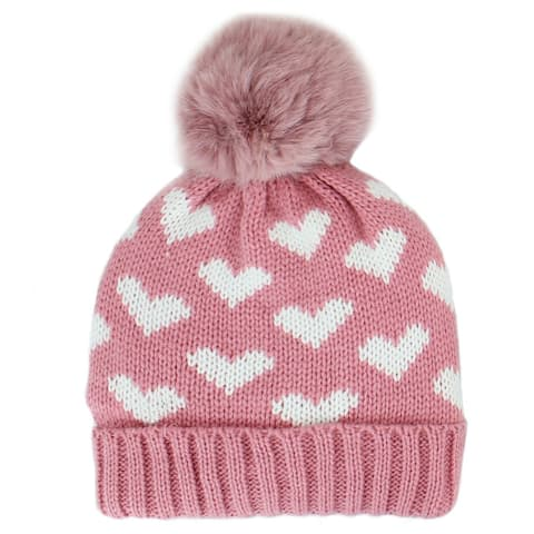 Girls Winter Knit Hat Warm Fleece Lined Hats Children Cable hearts Beanie Hats