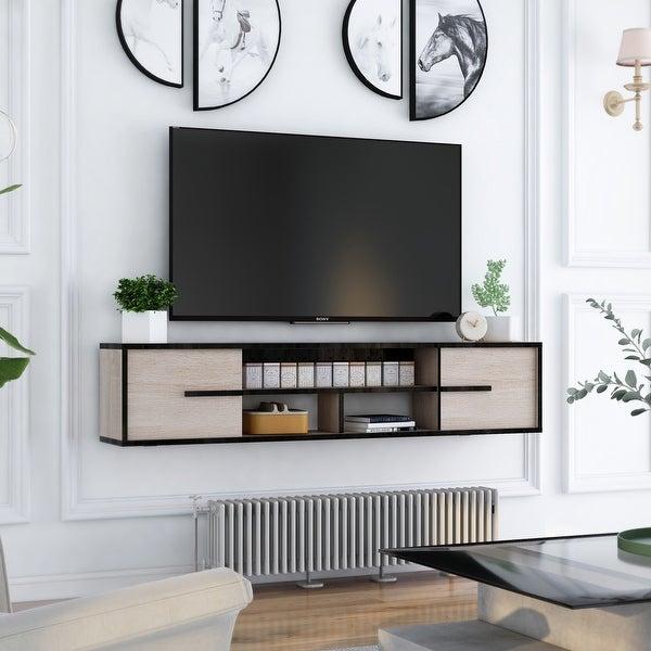 Furniture of America Benedikto Mid-century 63-inch 5-shelf Media Console. Opens flyout.