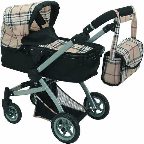 Babyboo Deluxe Doll Pram Color Beige Plaid with Swiveling Wheels & Adjustable Handle and Free Carriage Bag - 9651B Beige Plaid