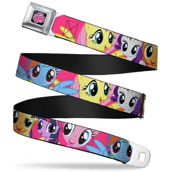 My Little Pony Logo Full Color Black Pink Ponies Close Up Fuchsia Webbing Seatbelt Belt
