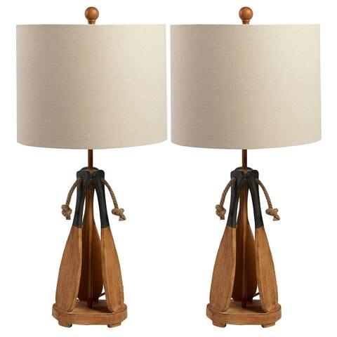 Seaside Paddle Resin Table Lamp - Set of 2