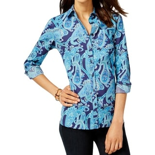 Tommy Hilfiger Womens Button-Down Top Woven Paisley