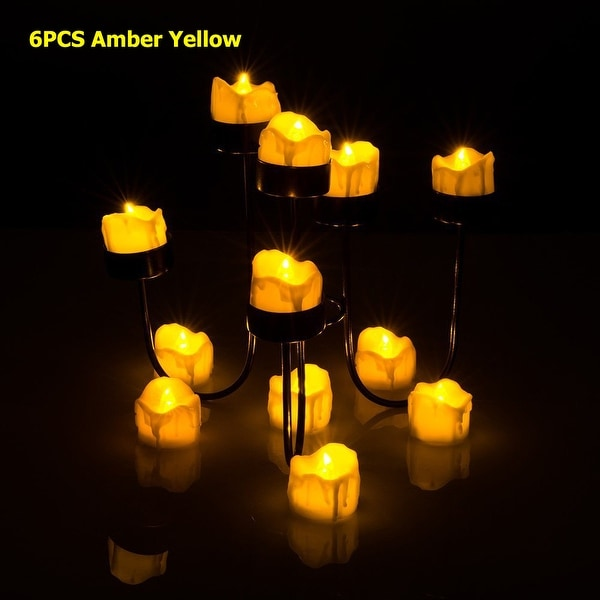 Image 6PCS Flameless Smokeless LED Tealight Light Candles Wax Dripped Amber Yellow