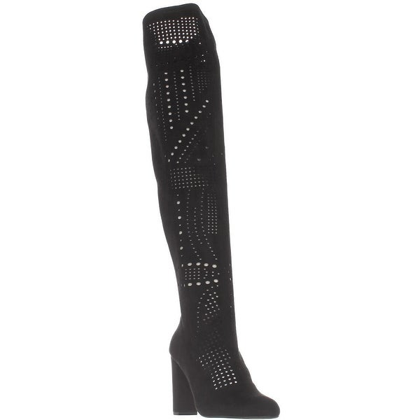 Steve Madden Eden Perforated Over-The-Knee Boots, Black