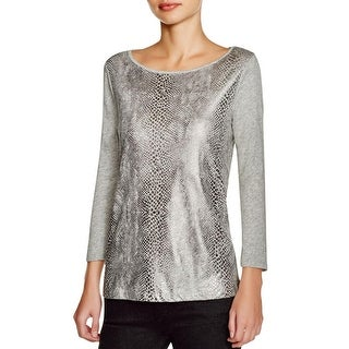 Three Dots Womens Casual Top Cotton Snake Print