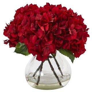 Nearly Natural Red Large Hydrangea with Vase Flower Arrangement
