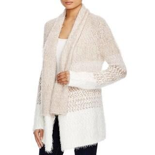 Cupio Womens Cardigan Sweater Open Front Colorblock
