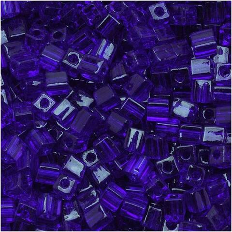Miyuki 4mm Glass Cube Beads Transparent Cobalt Blue 151 10 Grams