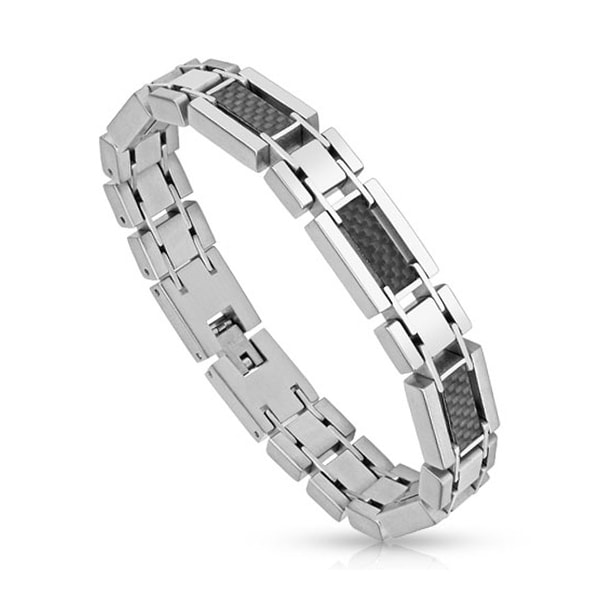 Five Black Carbon Fiber Inlay Links Stainless Steel Bracelet (12 mm) - 8.25 in