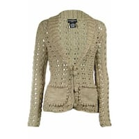 Sutton Studio Womens Metallic Crochet Cardigan