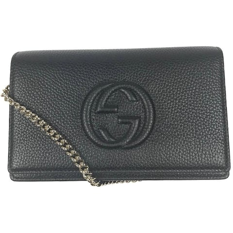 Gucci Soho Wallet on Chain Black Leather Cross Body Bag 598211 407041