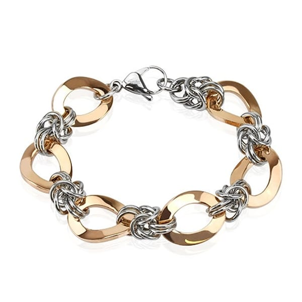 Rose Gold IP Duo Tone Link Chain Stainless Steel Bracelet (16 mm) - 8.25 in