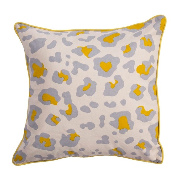 "20"" Lemon Chiffon Mouse Gray and Bone White Leopard Animal Print Decoative Throw Pillow"