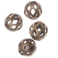 Antiqued Brass Diamond Cut Out 4mm Round Beads (100)