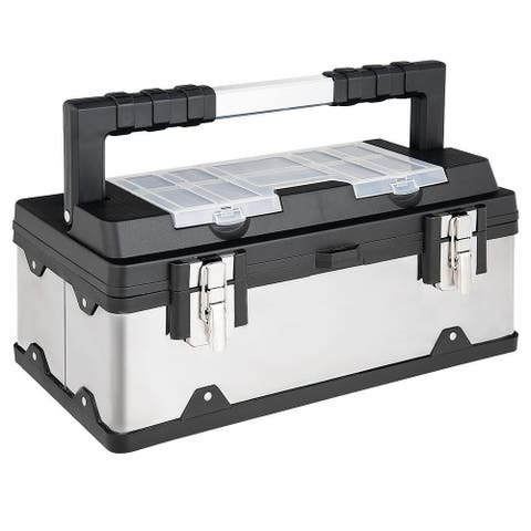 Costway 18 Inch Tool Box Stainless Steel and Plastic Portable