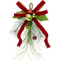 Club Pack of 12 Red and Green Pine Swags with Bells 17""