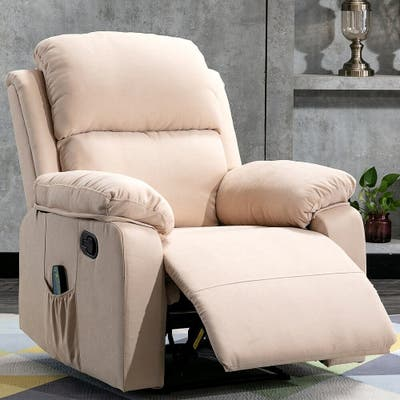 Classic Soft Padded Manual Recliner Chair with Remote Control Massage