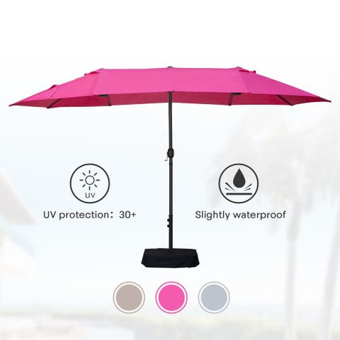 Amarantos 15ft Rectangular Patio Double Sided Outdoor Large Umbrella With Base Crank For Garden Pool (Rose Red)