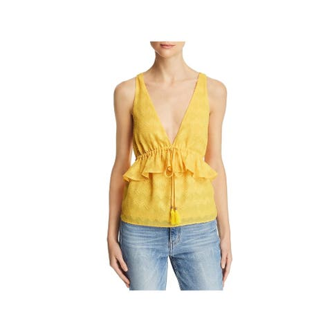 RAMY BROOK Womens Yellow Embellished Sleeveless V Neck Top Size L