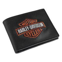 "Harley-Davidson Men's Embroidered Bar & Shield Billfold Wallet, XML4336-ORGBLK - 4.25"" x 3.5"""