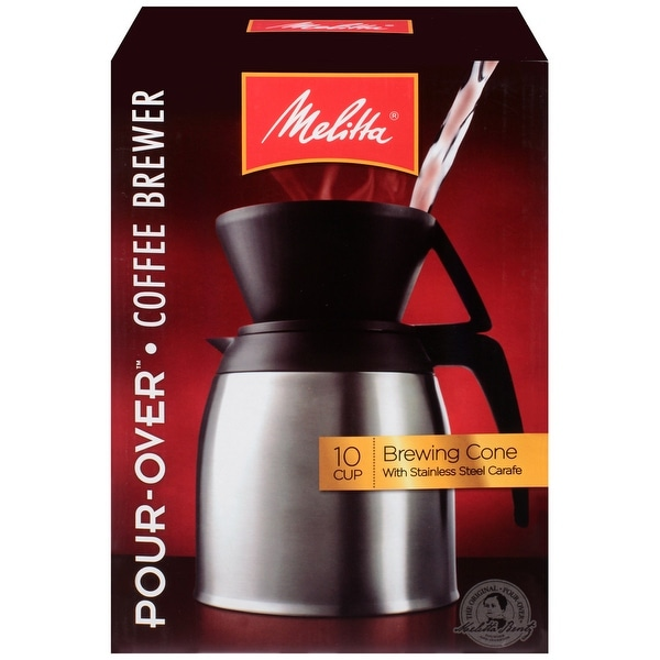 Melitta 10-Cup Thermal Pour-Over Coffeemaker Set with Cone and Stainless Carafe