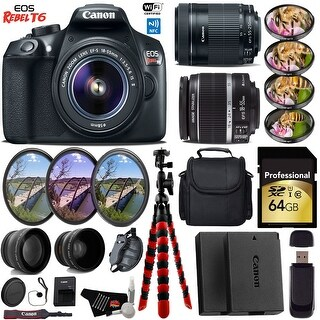 Canon EOS Rebel T6 DSLR Camera + 4 PC Macro Kit + Case + Tripod + Card Reader + Bundle 45 (Intl Model)