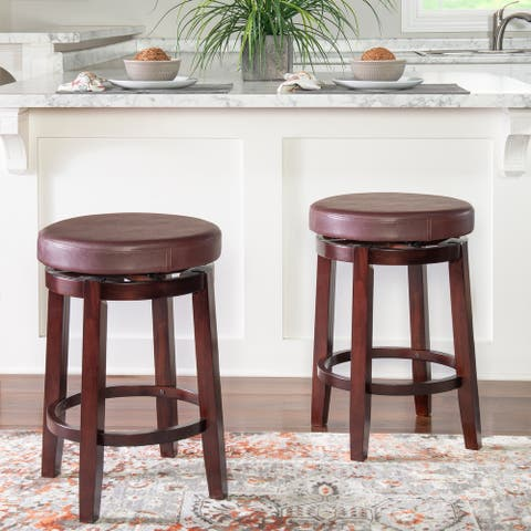 Linon Dorothy Backless Counter Stool Rice Swivel Seat