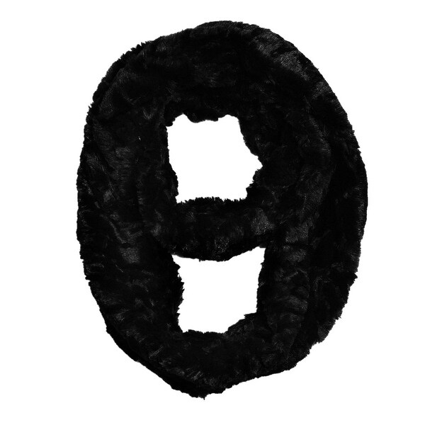 "Super Soft Faux Synthetic Fur Warm Infinity Loop Circle Scarf - Black - one size: 6"" wide, 62"" around"
